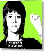 Jane Fonda Mug Shot - Lime Metal Print