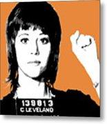 Jane Fonda Mug Shot - Orange Metal Print