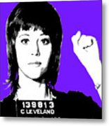 Jane Fonda Mug Shot - Purple Metal Print