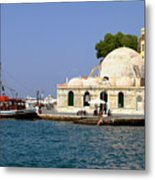 Janissaries Mosque And Caique In Chania Metal Print