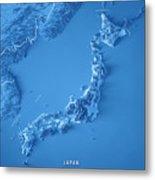 Japan 3d Render Topographic Map Blue Border Metal Print