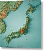 Japan 3d Render Topographic Map Border Metal Print