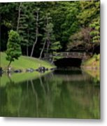 Japanese Garden Bridge Reflection Metal Print