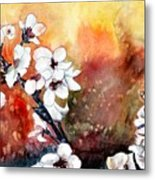 Japanese Cherry Blossom Abstract Flowers Metal Print
