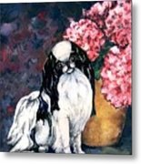 Japanese Chin And Hydrangeas Metal Print