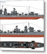 Japanese Destroyer Fubuki Metal Print