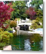 Japanese Garden Bridge And Koi Pond Metal Print