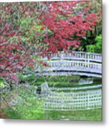 Japanese Garden Bridge In Springtime Metal Print