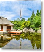 Japanese Garden In Park With Tower Metal Print