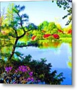 Japanese Garden In Spring Metal Print