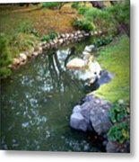Japanese Garden Reflection Metal Print