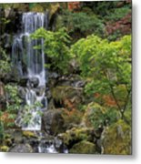 Japanese Garden Waterfall Metal Print