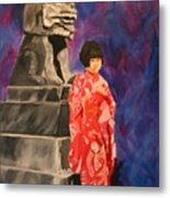 Japanese Girl With Chinese Lion Metal Print