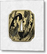 Japanese Katana Tsuba - Golden Twin Dragons On Black Steel Over White Leather Metal Print