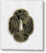 Japanese Katana Tsuba - Golden Twin Koi On Black Steel Over White Leather Metal Print