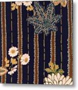 Japanese Maple And Chrysanthemum Modern Interior Art Painting. Metal Print