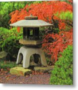 Japanese Maple And Lantern 1 Metal Print