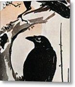 Japanese Print: Crow Metal Print