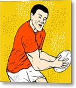 Japanese Rugby Player Passing Ball Metal Print