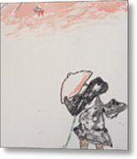 Japanese Shrine And Isolated Monk Metal Print