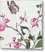 Japonica Magnolia And Butterflies Metal Print