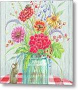 Jar Of Flowers Metal Print