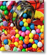 Jar Spilling Bubblegum With Candy Metal Print