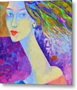 Modigliani Style Portrait Of A Woman Painting Colorful  Metal Print