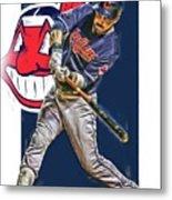 Jason Kipnis Cleveland Indians Oil Art Metal Print