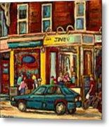 Java U Coffee Shop Montreal Painting By Streetscene Specialist Artist Carole Spandau Metal Print