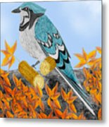 Jay With Corn And Leaves Metal Print