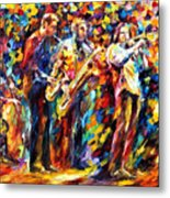 Jazz Band - Palette Knife Oil Painting On Canvas By Leonid Afremov Metal Print