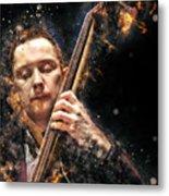 Jazz Bass Player Metal Print