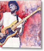 Jazz Guitarist Marcus Miller Red Metal Print