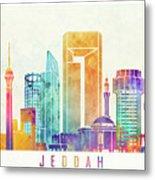 Jeddah Landmarks Watercolor Poster Metal Print