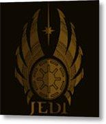 Jedi Symbol - Star Wars Art, Brown Metal Print