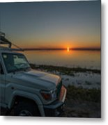 Jeep Driver Watching Sunset Over Peaceful River Metal Print