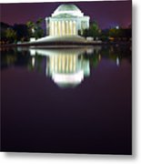 Jefferson Memorial Across The Pond At Night 4 Metal Print by Val Black Russian Tourchin