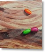 Jelly Beans On Wood Metal Print