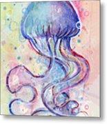 Jelly Fish Watercolor Metal Print