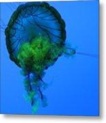 Jellyfish In Green Metal Print