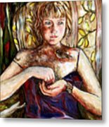 Girl And Bird Painting Metal Print