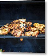Jerk Chicken On Grill Metal Print
