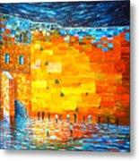 Jerusalem Wailing Wall Original Acrylic Palette Knife Painting Metal Print