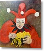 Jester And Spaghetti Metal Print