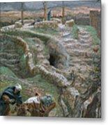 Jesus Alone On The Cross Metal Print