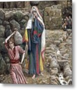 Jesus And His Mother At The Fountain Metal Print