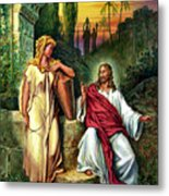 Jesus And The Woman At The Well Metal Print