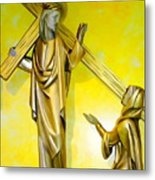 Jesus Carries The Cross Metal Print