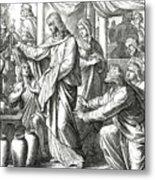 Jesus Changes Water Into Wine, Gospel Of John Metal Print